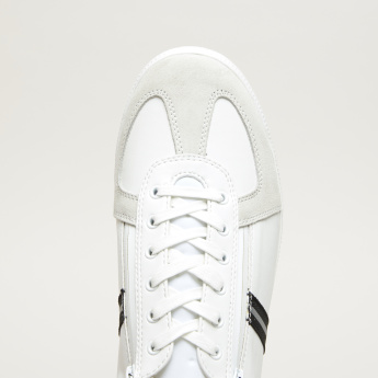 Lee Cooper Textured Lace-Up Sneakers with Zip Detail
