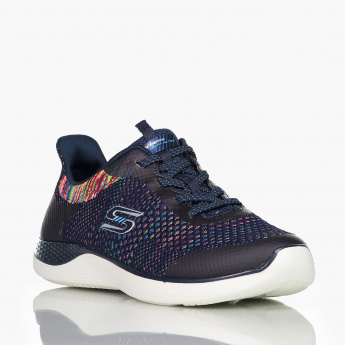 Skechers Textured Slip-On Shoes with Lace-Up Detail