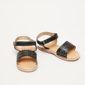 Laser Cut Detail Sandals with Ankle Strap and Hook and Loop Closure