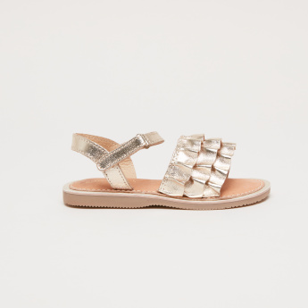 Ruffle Detail Sandals with Hook and Loop Closure