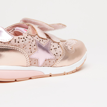 Pablosky Printed Sneakers with Star Applique and Stitch Detail