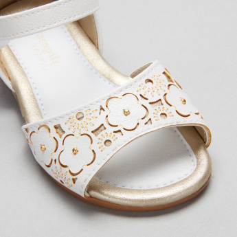 Pampili Laser Cut Detail Sandals with Hook and Loop Closure