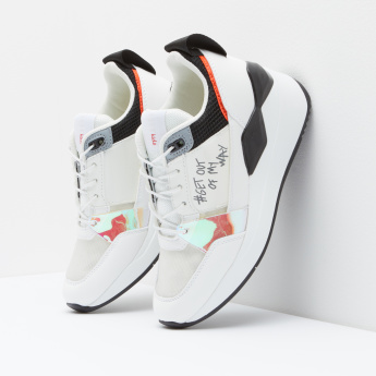 ELLE Printed Sneakers with Lace-Up Closure