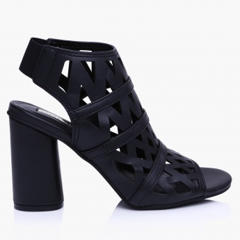 Paprika Laser Cut Block Heel Sandals