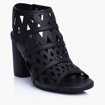 5f38d87ae8 Paprika Laser Cut Block Heel Sandals | Black | Sling Back
