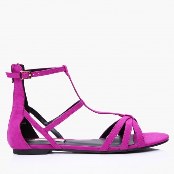 Paprika Gladiator Sandals with Zip Closure