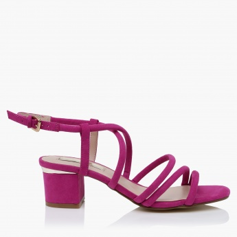 Paprika Multi Strap Block Heel Sandals with Buckle Closure