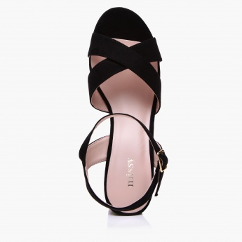 Missy Embroidered Block Heel Sandals with Buckle Closure