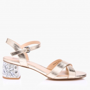 487887aa9d4 Celeste Embellished Block Heel Sandals with Buckle Closure