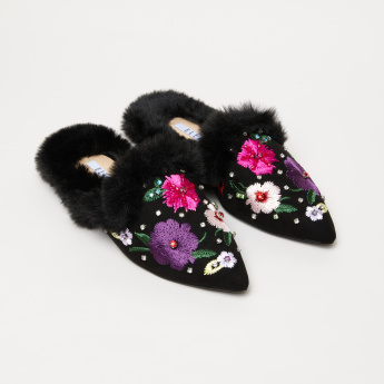Elle Plush Detail Mules with Embroidery