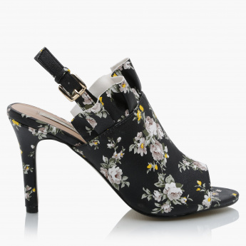 Paprika Printed High Heel Shoes with Buckle Closure