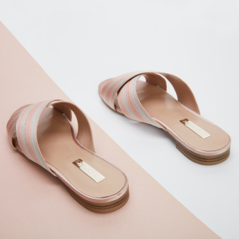 Paprika Low Heel Cross Strap Slides