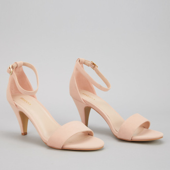 Missy Mid Heel Sandals with Ankle Strap and Buckle Closure