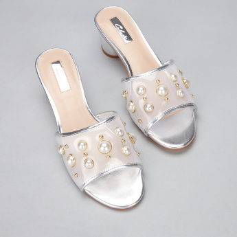 Celeste Block Heel Slides with Pearl Detail