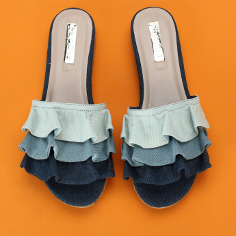 Paprika Low Platform Heel Slides with Ruffles