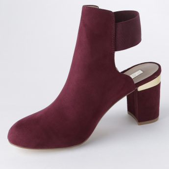 Paprika Block Heel Shoes with Elasticised Ankle Strap
