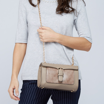 Paprika Satchel Bag with Metallic Chain