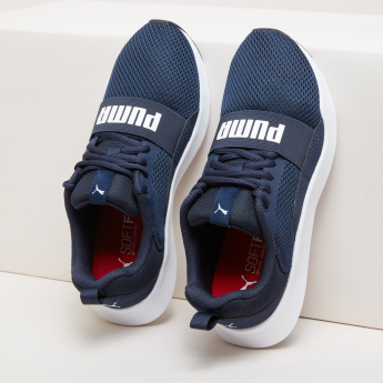 PUMA Textured Lace-Up Sneakers with Printed Vamp Band
