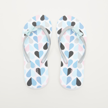Printed Flip Flops with Bow Detail
