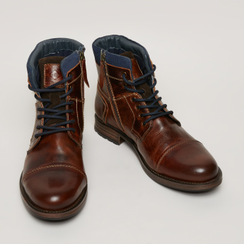 Lee Cooper Lace-Up Boots with Zip Detail