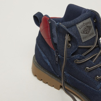 Lee Cooper Denim High Top Boots with Zip Closure and Laces