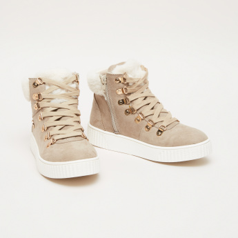 Lee Cooper High Top Lace-Up Shoes with Zip Closure