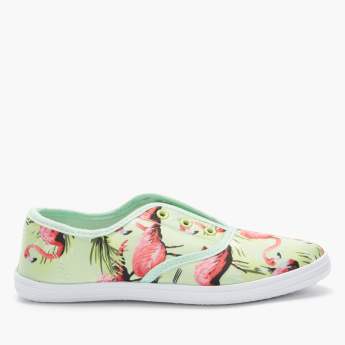 Little Missy Printed Slip-On Shoes with Elasticised Gussets