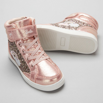 Barbie Glitter High Top Shoes with Hook and Loop Closure