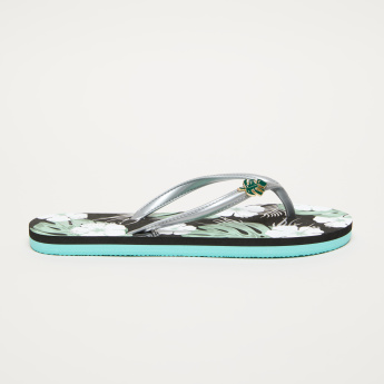 Floral Printed Flip-Flops with Leaf Applique