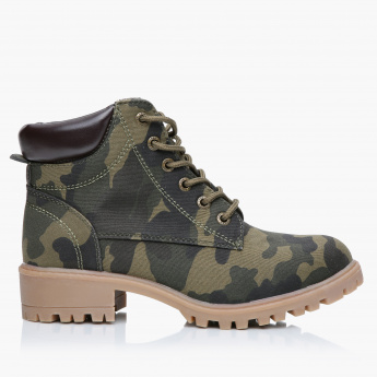 Lee Cooper Printed Boots with Lace-Up Closure