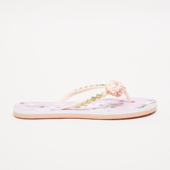 Floral Printed Flip Flops with Flower Applique