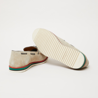 Textured Slip-On Moccasins with Tassels