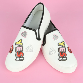 Missy Applique Detail Slip-On Sneakers with Elasticised Gussets