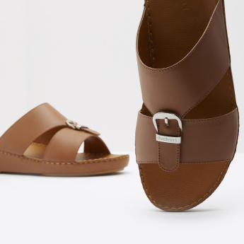 Duchini Slide Sandals with Buckle Accent and Slip-On Closure