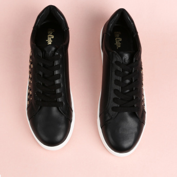 Lee Cooper Lace-Up Sneakers with Eyelet and Laser Cut Detail