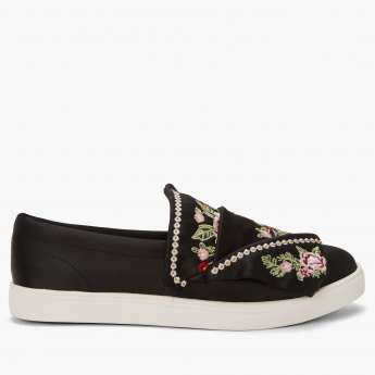 Elle Embroidered Slip-On Shoes