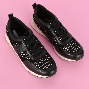 Elle Textured Lace-Up Sneakers