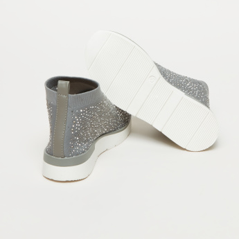 ELLE Embellished High Top Shoes with Pull Tab