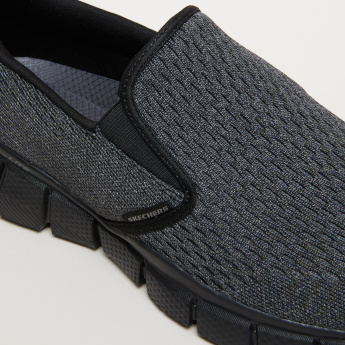 Skechers Textured Slip-On Walking Shoes with Elasticised Gussets