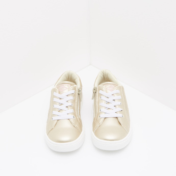 Glitter Detail Sneakers with Lace-Up Closure