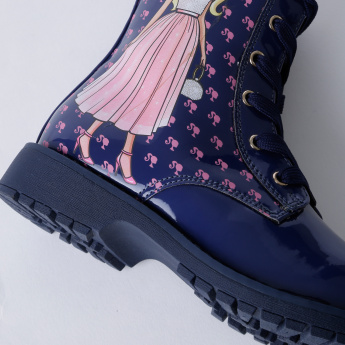 Barbie Printed Boots with Zip Closure