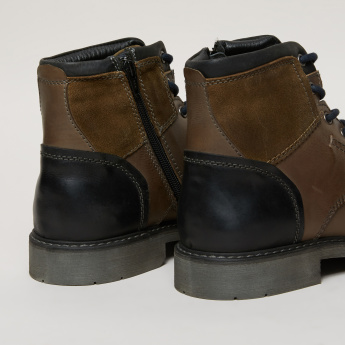 Lee Cooper Lace-Up High Top Boots with Zip Closure