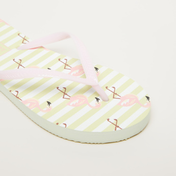 Unicorn Printed Flip-Flops with Textured Straps
