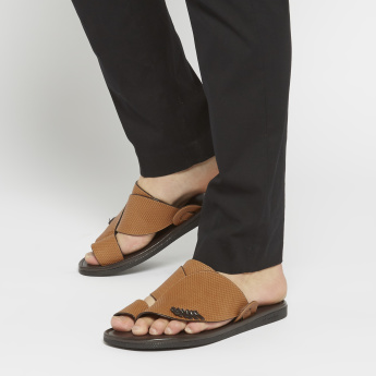 Al Waha Textured Arabic Slides with Slip-On Closure
