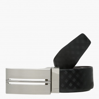 Chequered Belt with Plate Buckle