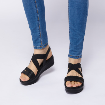 IMAC Textured Sandals with Elasticised Crossed Straps