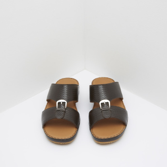 Duchini Textured Arabic Sandals with Buckle Accent