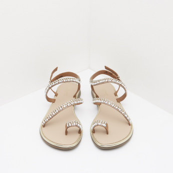 Beaded Ankle Strap Sandals with Buckle Closure