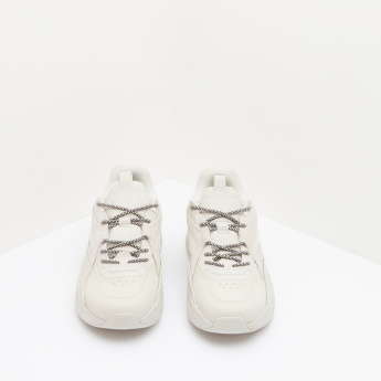 ANTA Textured Walking Shoes with Laces Up Closure