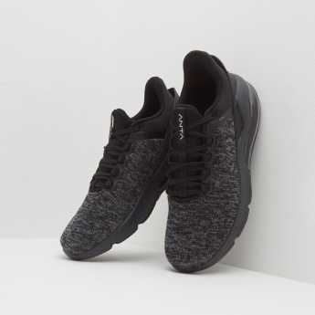 ANTA Textured Walking Shoes with Lace-Up Closure